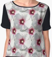 Natural Flowers Series - White and Violet Hisbiscus Chiffon Top