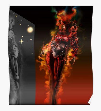 Machine Nightmare {Red} [ Fantasy Figure Illustration ] Poster