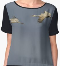 Two in flight against gray sky Chiffon Top