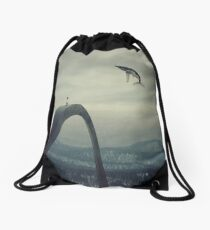 Boy and the flying whale Drawstring Bag