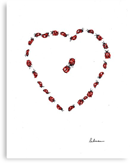 Hello Sweetheart - Little Ladybugs Heart Drawing by Rebecca Rees