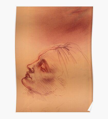 Michelangelo head study #2 - Original terra cotta chalk pastel & prisma pencil drawing Poster