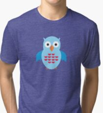 Blue & Red Owl Tri-blend T-Shirt