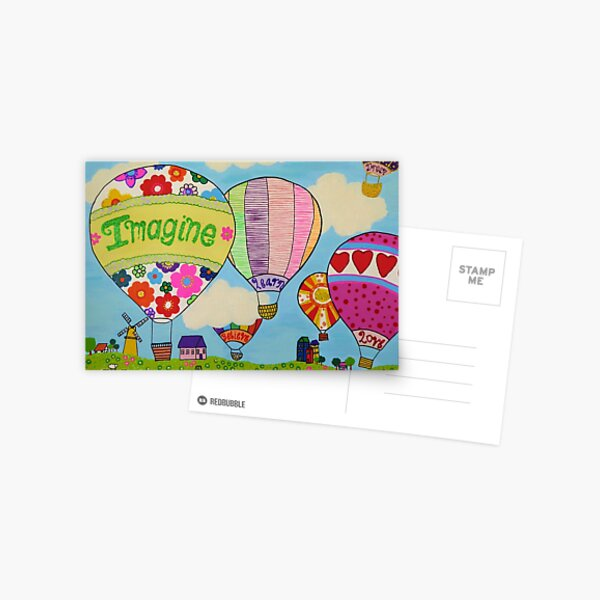 Hot Air Ballons, Imagine, Believe, Learn, Shine, Love, Dream, glitter effect Postcard