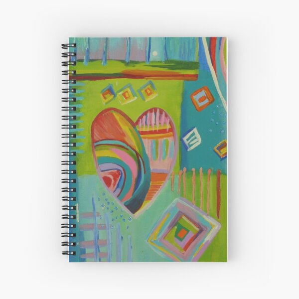Playful Abstract Rainbow Hearts Spiral Notebook