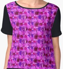 Natural Blooming Flowers - Violet Cattley Orchids Chiffon Top