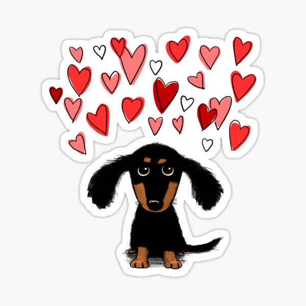 Cute Dachshund Puppy Dog with Valentine Hearts Sticker