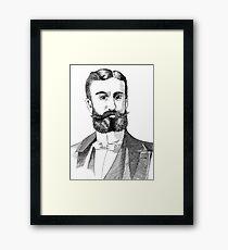 Portrait of Moustache and Man - Pen & Ink Framed Print