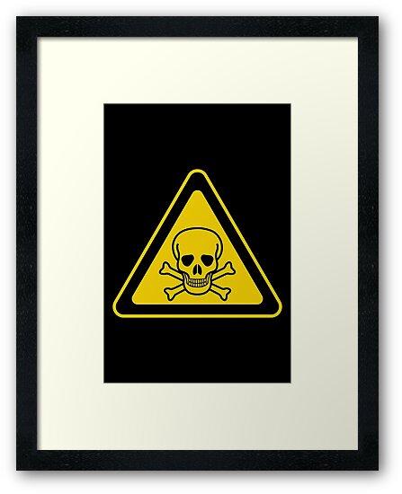 poison symbol warning sign yellow black triangular framed