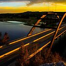 360 Bridge or Pennybacker At Sunset with Golden Highlights by Roschetzky