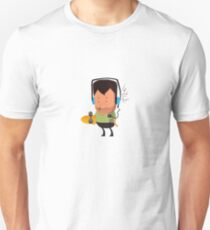 hipster  character with skateboard , listening music T-Shirt