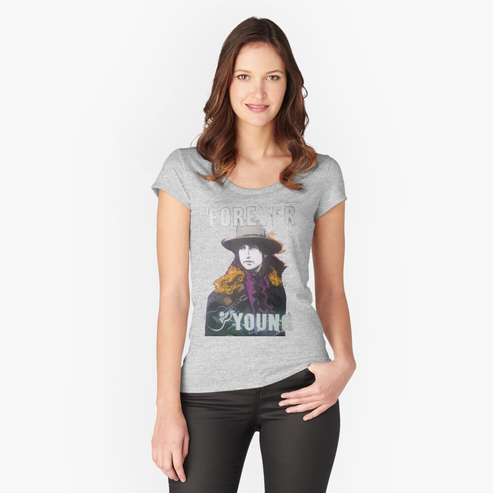 Bob Dylan Women's Fitted Scoop T-Shirt Front