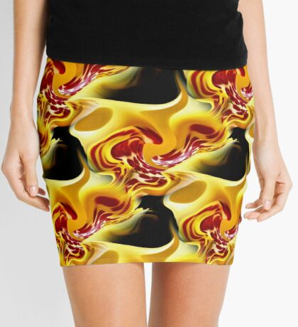 Red Spots On Yellow Abstract Design Mini Skirt
