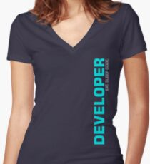 Eat Sleep Code Repeat Developer Programmer Women's Fitted V-Neck T-Shirt