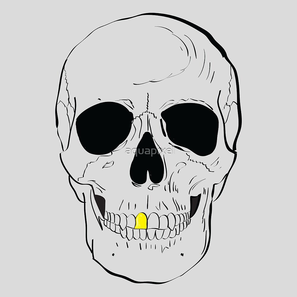 Human skull with a gold tooth by aquapixel