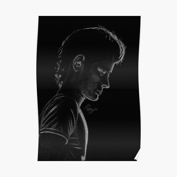 Zayn Blanco y Negro Silhuette Póster