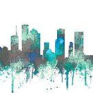 Houston, Texas Skyline - Dschungel Blues & Grünen von Marlene Watson