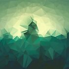 Colorful dark background with geometric green triangles. Low poly by aquapixel