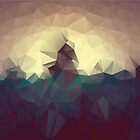 Colorful dark background with geometric blue and brown triangles. Low poly by aquapixel