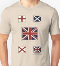 A Complete Guide To Heraldry - Plate IX - Flags - St. George's Cross, St. Andrew's Cross, The Union Jack, St. Patrick's Cross, Union Flag of England and Scottland Unisex T-Shirt
