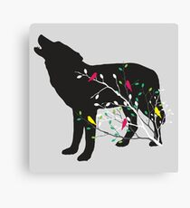 Illustration of wolf silhouette. Branches with colorful birds. Poster for nature lovers Canvas Print