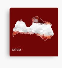 Map of Latvia with geometric pattern in Latvia's national colors. Low poly Canvas Print