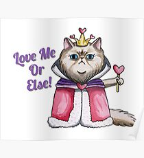 Queen of Hearts Persian Cat Illustration Poster