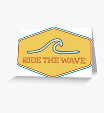 Ride the Wave - Vintage Surf Sticker Greeting Card