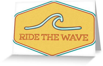 Quot Ride The Wave Vintage Surf Sticker Quot Greeting Card By