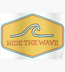Ride the Wave - Vintage Surf Sticker Poster