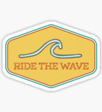 Pegatina Ride the Wave - Etiqueta de surf vintage