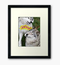 Wolves at play - Timber Wolf Framed Print