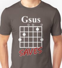 Gsus Saves Chord T-Shirt, Funny Guitar Lover Gift T-Shirt