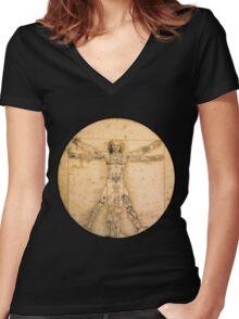 Vitruvian Tats Women's Fitted V-Neck T-Shirt
