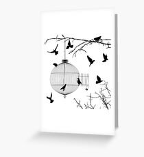 Birds silhouettes and bird cage Greeting Card