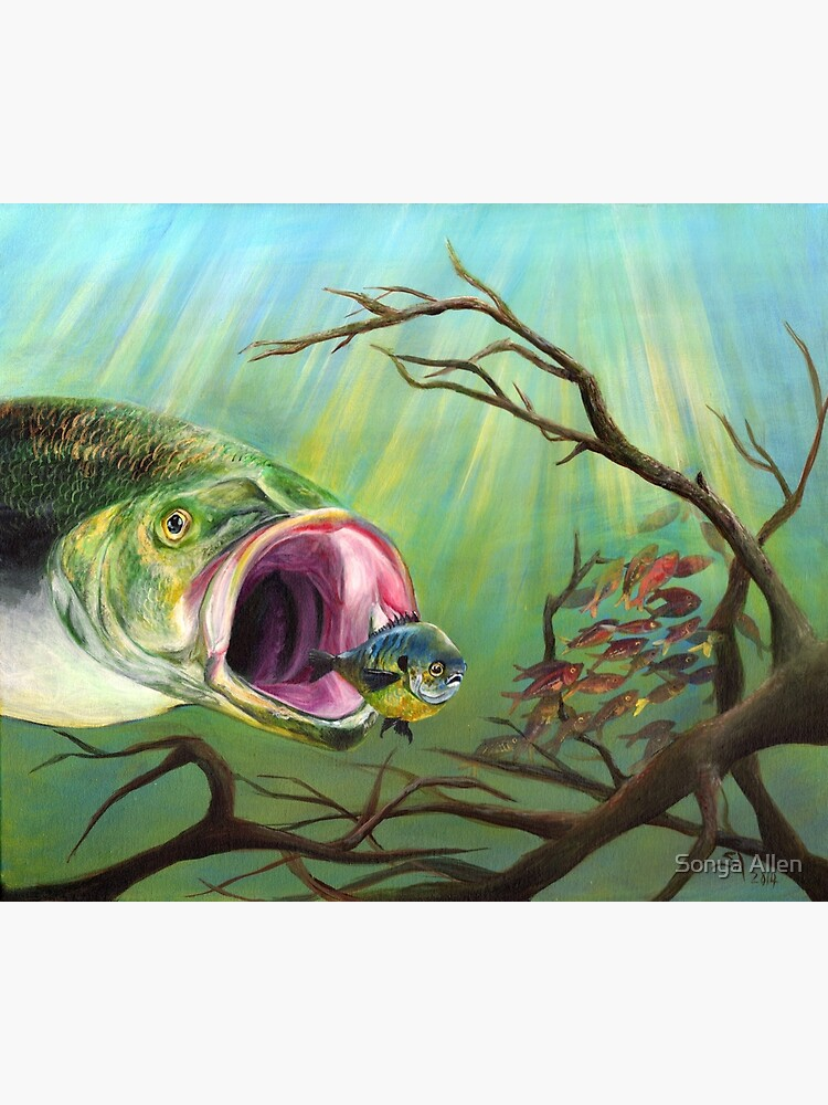 Large Mouth Bass And Clueless Bait Fish Greeting Card By Sonyaann13 Redbubble