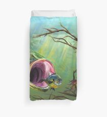 Large Mouth Bass and Clueless Bait Fish Duvet Cover