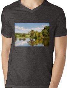 Lake and trees rural landscape Mens V-Neck T-Shirt