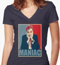 Maniac! Jeremy Clarkson Women's Fitted V-Neck T-Shirt