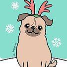 Pug Wearing Reindeer Antlers by zoel