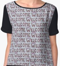 Welcome Letters Pattern Chiffon Top