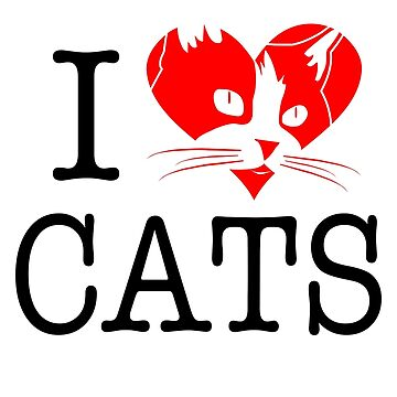 I love cats - I heart cats by LaCaDesigns