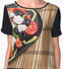 Fresh vegetable salad closeup Chiffon Top