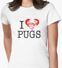 I love pugs - I heart pugs Womens Fitted T-Shirt
