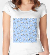 Seamless pattern with skates, snowflakes on a blue background. Vector Illustration.  Women's Fitted Scoop T-Shirt