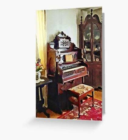 Organ in Victorian Parlor with Vase Greeting Card