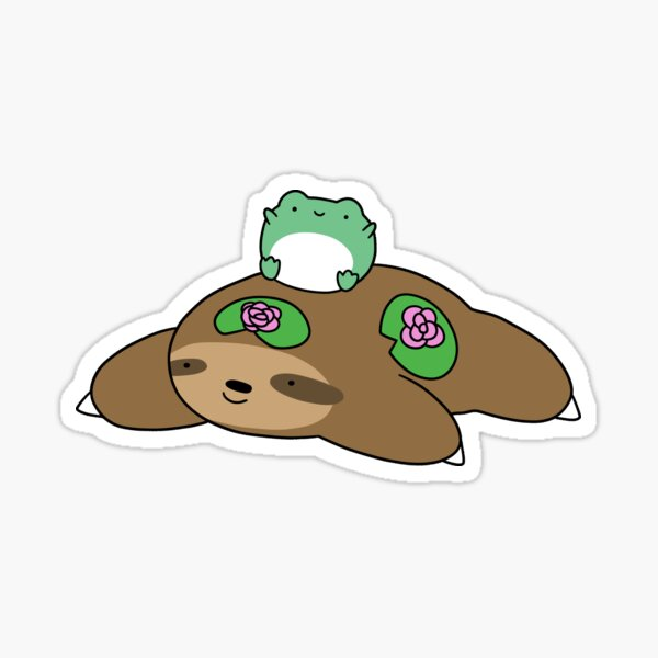 Lily Pad Sloth and Frog Sticker