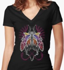 Mab the Queen of Fey (bold white and pale purple) Women's Fitted V-Neck T-Shirt