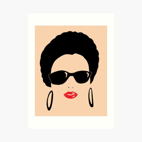 Afro chic with round earrings Art Print