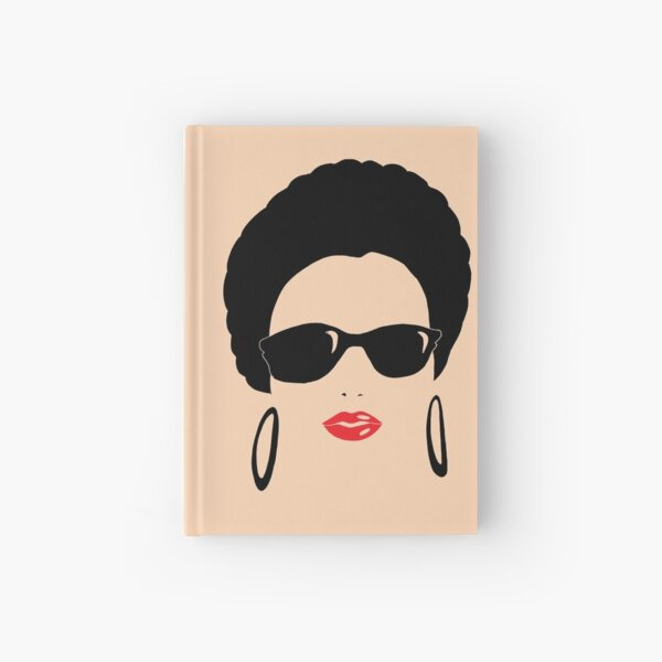 Afro chic with round earrings Hardcover Journal